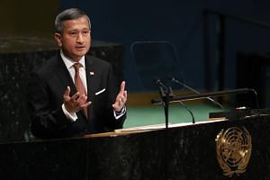 Foreign Minister Vivan Balakrishnan speaking at the United Nations General Assembly in Manhattan, on Sept 29, 2018.