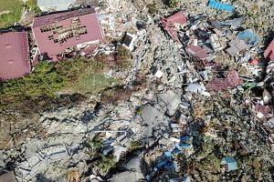 An aerial view of Petobo sub-district following an earthquake in Palu, Central Sulawesi, Indonesia, on Oct 2, 2018.