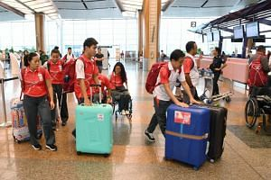 The final group of Singapore's Asian Para Games athletes at Changi Airport before leaving for Jakarta, on Oct 4, 2018.