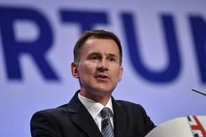 Britain's Foreign Secretary Jeremy Hunt speaks on the first day of the Conservative Party Conference in Birmingham, on Sept 30, 2018.