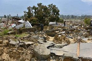 """The village of Petobo, which lies 10km from Palu, Sulawesi, is now known as the """"sunken village"""". At least 700 houses were swallowed up and buried during the quake."""