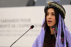 File photo of Nadia Murad delivering a speech after being awarded co-laureate of the 2016 Sakharov human rights prize in Strasbourg, France, on Dec 13, 2016.