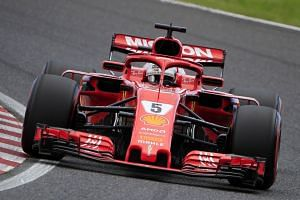 Vettel in action during the qualifying session.