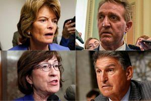 Senators (clockwise from top left) Lisa Murkowski, Jeff Flake, Joe Manchin and Susan Collins.