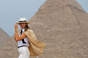 Melania Trump visits the Giza Pyramids, during the final stop of her week-long Africa trip.