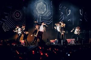 The seven-member K-pop boyband BTS performing to some 40,000 fans at Citi Field in New York on Oct. 6, 2018. They are the first K-pop act to perform in the stadium.