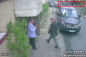 A CCTV still image is said to show Khashoggi as he arrives at Saudi Arabia's consulate in Istanbul.