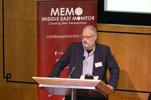 Saudi dissident Jamal Khashoggi speaks at an event hosted by Middle East Monitor in London Britain, on Sept 29, 2018.