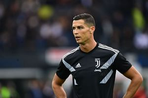 Ronaldo trains prior to the Italian Serie A match between Juventus and Udi-nese Calcio on Oct 6, 2018.