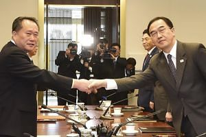 The talks in Panmunjom were led by Mr Ri Son Gwon (left), chairman of the North's committee for peaceful reunification that handles cross-border affairs, and the South's Unification Minister Cho Myoung-gyon.
