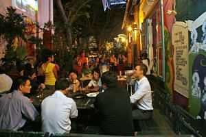 Blu Jaz Cafe, located at 11 Bali Lane, is a popular venue for live entertainment and performances, including music and comedy shows and poetry sessions.