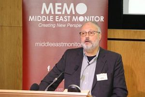 File photo of Saudi dissident Jamal Khashoggi speaking at an event hosted by Middle East Monitor in London, on Sept 29, 2018.