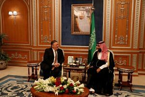 US Secretary of State Mike Pompeo (left) meets with the Saudi Crown Prince Mohammed bin Salman during his visit in Riyadh, Saudi Arabia, on Oct 16, 2018.