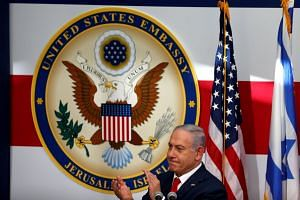 Israeli Prime Minister Benjamin Netanyahu at the dedication ceremony for the new US embassy in Jerusalem.