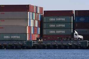 Chinese shipping containers at the Port of Long Beach, in Los Angeles County.