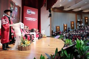 Minister for Trade and Industry Chan Chun Sing (left) said graduation does not mark the end of learning.