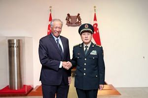 Defence Minister Ng Eng Hen with Chinese Defence Minister Wei Fenghe ahead of the 12th Asean Defence Ministers' Meeting (ADMM) and the 5th Asean Defence Ministers' Meeting-Plus.