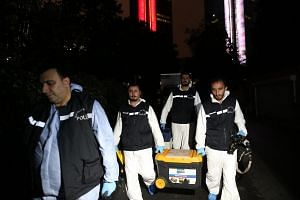 Turkish forensic police officers arrive at the Saudi Consulate during a second round of investigation in Istanbul, Turkey, on Oct 17, 2018.