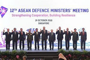 Defence Minister Ng Eng Hen (centre) with (from left) Brunei's Second Minister for Defence Dato Paduka Seri Haji Awang Halbi Haji Mohd Yussof, Cambodia's Deputy Prime Minister and Minister of National Defence Tea Banh, Indonesia's Defence Minister Ry