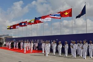 Contingents from the participating nations forming up for the opening ceremony of the Asean-China Maritime Field Training Exercise.