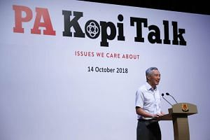 Prime Minister Lee Hsien Loong speaking at a closed-door post-National Day Rally dialogue organised by the People's Association held on Oct 14, 2018.