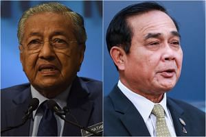 Malaysia's Prime Minister Mahathir Mohamad will meet junta head Prayut Chan-o-cha before a joint press conference on Oct 24, 2018.