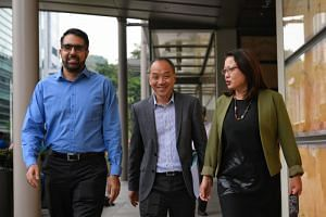 (From left) Workers' Party town councillors Pritam Singh, Low Thia Khiang and Sylvia Lim at the Supreme Court on Oct 9, 2018.