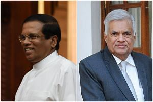 Sri Lanka President Maithripala Sirisena (left) has sacked his Prime Minister Ranil Wickremesinghe on Oct 26, 2018.