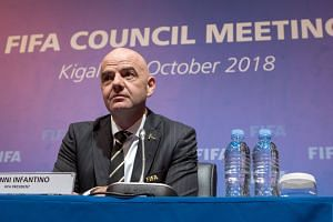 Fifa president Gianni Infantino responds at a news conference in Kigali, Rwanda, on Oct 26, 2018.