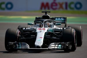 Hamilton during practice for the Mexican grand prix.