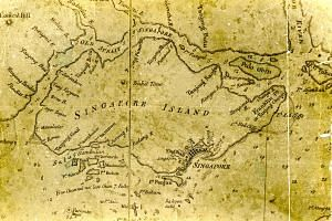 """An old map of Singapore. Flemish trader Jacques de Coutre, who spent nearly a decade in South-east Asia at the turn of the 17th century, lobbied the Spanish king to colonise Singapore as a military base, describing the island as being endowed with """"t"""