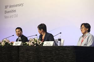 (From left) Social and Family Development Minister Desmond Lee, National University of Singapore associate professor of law Eleanor Wong and Singapore Management University sociology professor Paulin Straughan at yesterday's IPS conference at the Mar