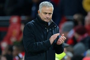 Manchester United manager Jose Mourinho applauds the fans after the match at Old Trafford, Manchester, Britain, on Oct 28, 2018.