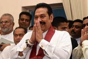 Sri Lanka's newly appointed Prime Minister Mahinda Rajapaksa at a ceremony to assume duties at the prime minister's office in Colombo, on Oct 29, 2018.