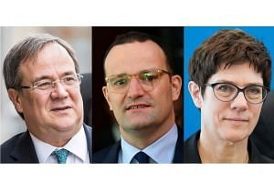 (From left) Prime minister of North Rhine-Westphalia Armin Laschet, German Health Minister Jens Spahn, and Christian Democratic Union Secretary General Annegret Kramp-Karrenbauer have all been touted as possible replacements for Chancellor Angela Mer