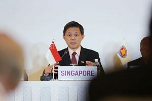 Minister for Trade and Industry Chan Chun Sing speaking at the press conference for the MOU signing between Asean and the International Renewable Energy Association, at the 36th Asean Ministers on Energy Meeting, on Oct 29, 2018.