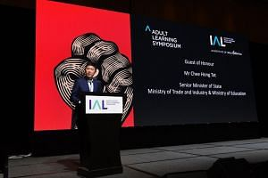 Senior Minister of State for Trade and Industry Chee Hong Tat speaking at the Adult Learning Symposium 2018, on Nov 1, 2018.