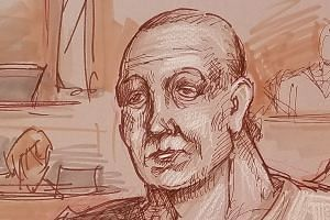 Sayoc in an artist's sketch, appearing in federal court on Oct 29, 2018, to answer charges against him.