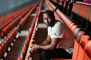 Former Manchester United striker Andy Cole at Our Tampines Hub yesterday to promote the JSSL Singapore sevens, a youth football tournament at the Padang in April.
