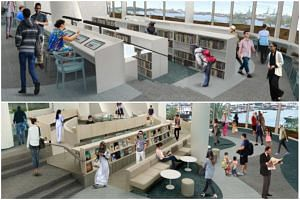 Patrons will be able to get their daily news fix against a backdrop view of Sentosa at the eNewspaper Reading Area (top), and browse from the book displays and sit down with a book at the Reading Lounge.