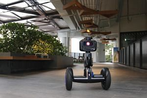 Autonomous robots are being considered for security patrols at the five-storey Wisma Geylang Serai.