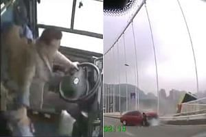 During the fight, the driver lost control of the bus and the vehicle broke through a guardrail and plunged into the river with an estimated 15 passengers on board in Wanzhou, Chongqing.