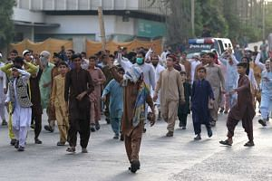 Supporters of Islamic political party Tehrik Labaik protest over the acquittal of Asia Bibi,