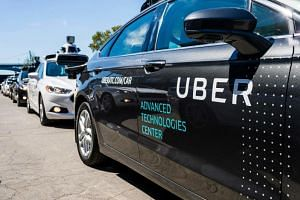 Pilot models of the Uber self-driving car is displayed at the Uber Advanced Technologies Center in Pittsburgh, Pennsylvania, on Aug 27, 2018.