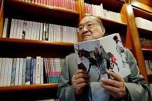 Above: Out-of-print copies (left) of Jin Yong's works owned by Dr Charles Phua, and the comic book version of The Return Of The Condor Heroes illustrated by Wee Tian Beng. Left: A 2002 photo of novelist Louis Cha, known by his pen name Jin Yong, with