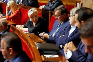 French far-right National Rally (Rassemblement National) party leader Marine Le Pen attends a questions to the government session at the National Assembly in Paris, France, on Oct 16, 2018.