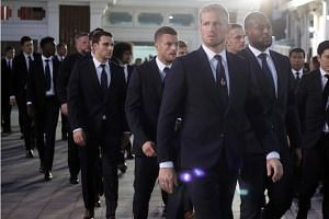 Leicester City players arriving to attend a funeral rite of the club's late Thai Chairman Vichai Srivaddhanaprabha at Wat Debsirindrawas Ratchaworawiharn Temple in Bangkok on Nov 4, 2018.