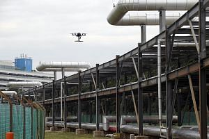 A demonstration showing a drone inspecting chemical and utilities pipelines for leaks on Jurong Island. The drones will be equipped with multiple video cameras and sensors.