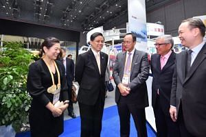 Minister for Trade and Industry Chan Chun Sing at the China International Import Expo in Shanghai on Nov 6, 2018.