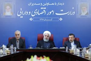 Iran's President Hassan Rouhani (centre) at a Cabinet meeting in the capital Teheran. He said the country is